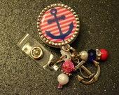 Pink and Blue Anchor Retractable ID Badge Holder, ID Holder Reel, ID Clip, Medical, Nursing,Office, Doctor, Bottlecap, Bezel