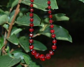 recycled  vintage antique red/ black jet glass bead necklace/sterling silver heart clasp