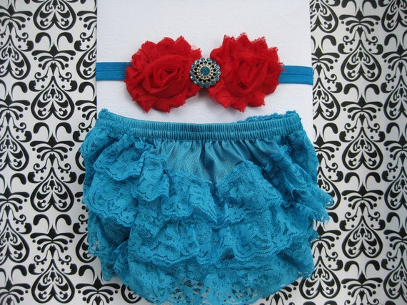 Baby girl turquoise and red set, lace bloomers, petti lace bloomer, diaper cover, baby size 0-6 month, turquoise headband, Photo prop