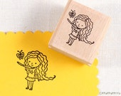 50% OFF SALE Girl & Butterfly Rubber Stamp