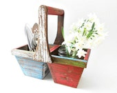 Wooden Basket with Compartments Silverware Caddy French Farmhouse Home Decor
