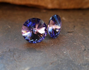 Tanzanite 8.4mm Swarovski Rivoli Rhinestone Stud Earrings-Tanzanite Crystal Studs-Purple Crystal Rivoli Studs-Small Purple Stud Earrings