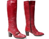 True Blood: Pomegranate Red Leather Strap & Buckle Knee High Boots. Made in Spain by Etienne Aigner. Size - Womens VTG US 6 M - NashvilleBootUnion