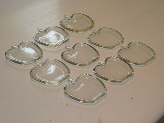 Set of 9 Vintage Depression Glass APPLE Coasters Butter Plates