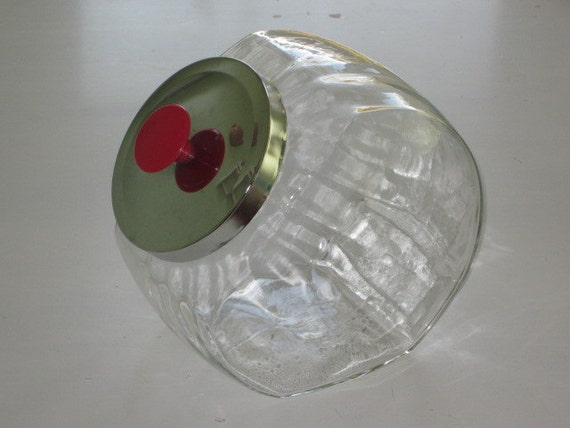 Treasury Vintage Clear Glass Tilt Store Canister Metal Lid Red