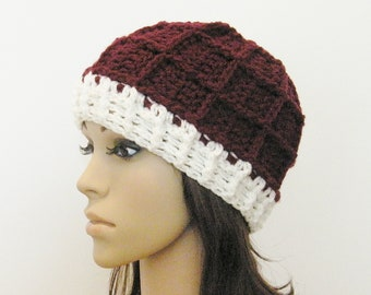 Epic Ribbed Snow Beanie - Merlot and Eggshell - Made to order - Mens and womens hat