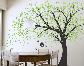 Large Windy Tree with Birdhouse Wall Decal - Windy Tree, Nature Wall Decal, Living Room Wall Decal, Tree Wall Sticker, Falling Leaves