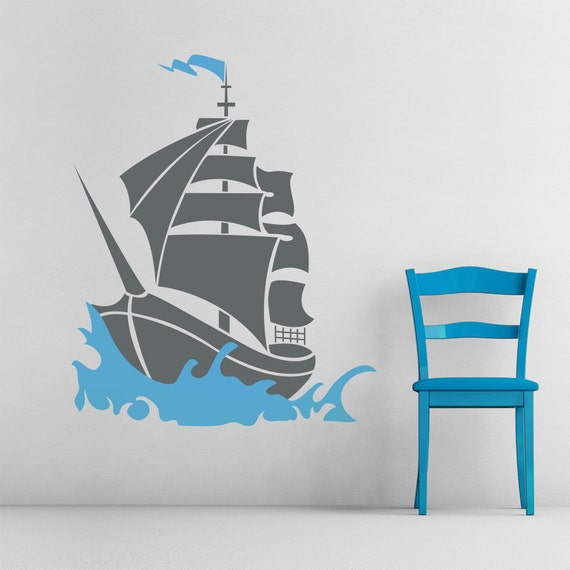 pirate ship vinyl wall decal sticker 48 ship decal. Black Bedroom Furniture Sets. Home Design Ideas