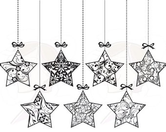 christmas star clip art black and white - photo #17