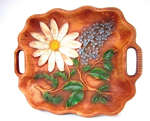 Vintage Floral Serving Tray Decorative Daisy Faux Wood Wall