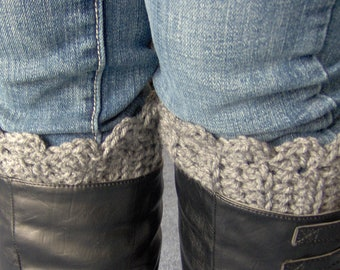 "Crocheted Boot Cuff Grey Boot Socks ""Pick Your Color, Pick Your Size"""