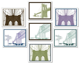 Brooklyn Bridge Note Card SET of 8. Brooklyn Stationery. Vintage & Modern. Blank Inside. New York City. Made in Brooklyn. Brooklyn Gift