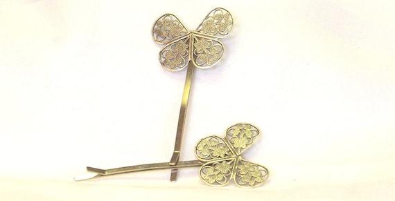 Silver Filigree Butterfly Bobby Pin Set