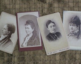 Price Reduced - Four Antique Victorian CDV Photos - Elegant Ladies - 1870s and 1880s - Fabulous Ringlets and Jewelry