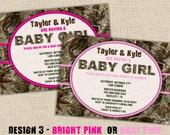 PINK Hunting Camo Baby Shower Invitation - Design 3 - Digital DIY Printable