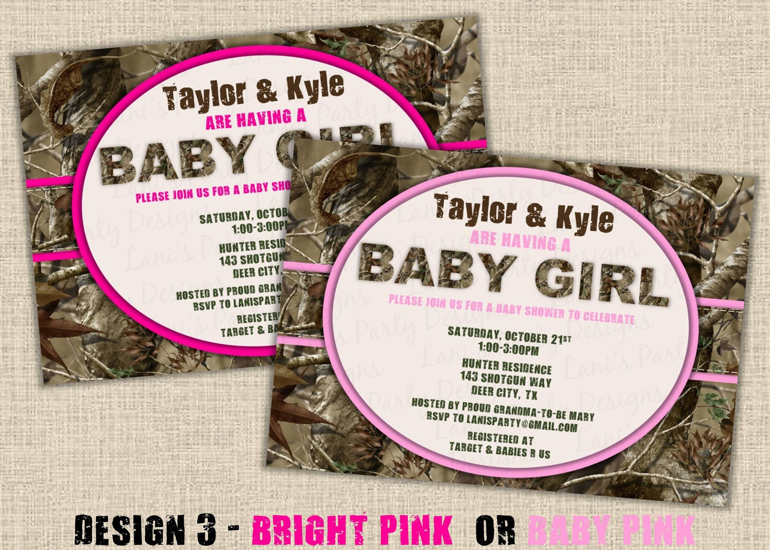 pink hunting camo baby shower invitation design 3 digital