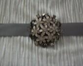 Gray Wedding Sash With Vintage Jewel