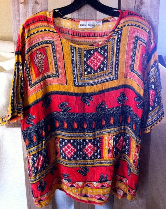 Bohemian Summer Vintage Tunic Shirt