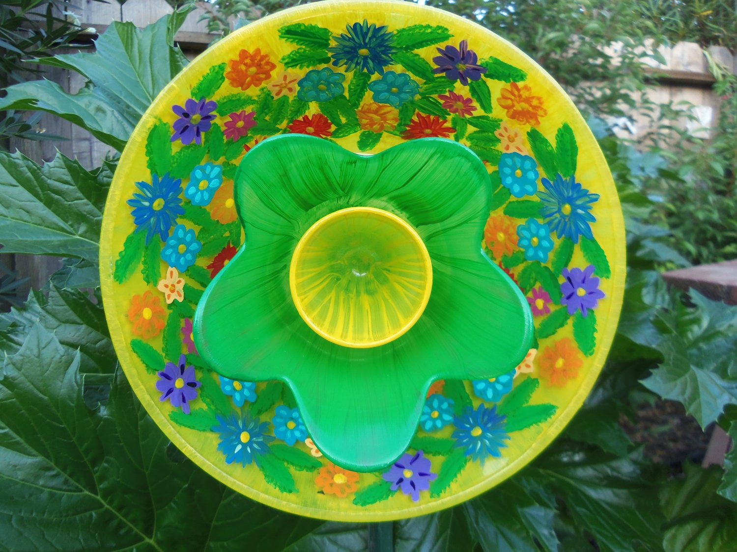 Garden art glass plate garden flower hand painted in a for Recycled glass flowers