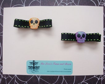 Purple and orange skull hair clips for girls, babies
