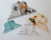 4 Origami Heart Bookmarks -Vintage Papers
