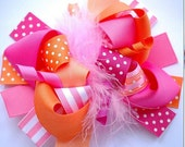 Over the Top Stacked Hair Bow feathers pink orange white baby girl