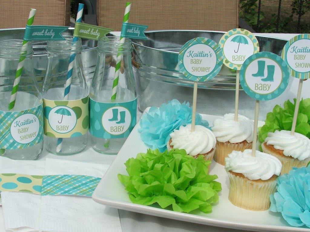 Blue and green baby shower decorations best baby decoration for Baby shower decoration images