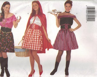 Butterick Sewing Pattern 6294 - Misses' Gypsy, Red Riding Hood, Cocktail Waitress Costumes (XS-XL)