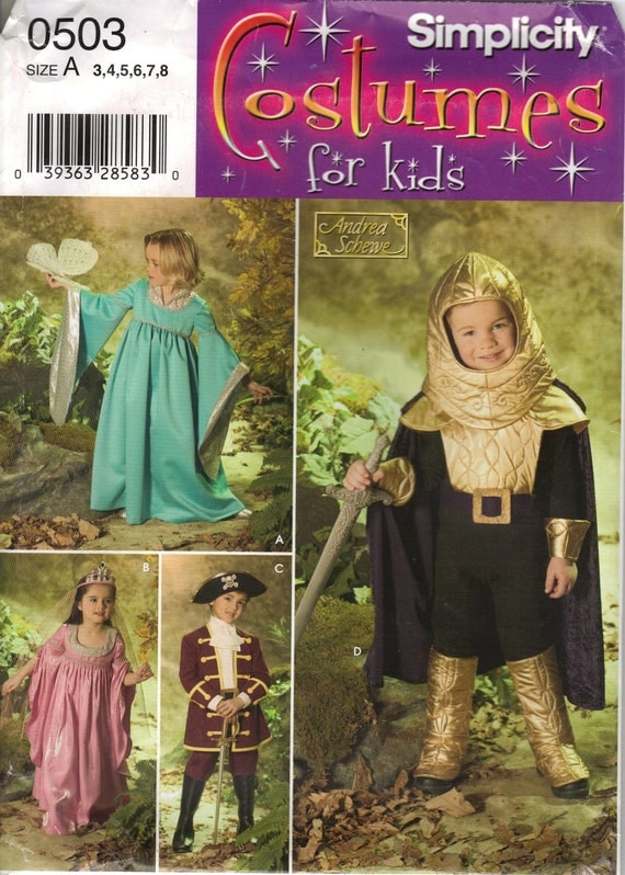 Simplicity Costume Sewing Pattern 0503 (aka 4944) - Child's Medieval Costumes (3-8)