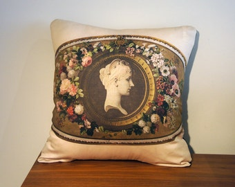 Antique French Style Cushion Pillow Cover - 18th Century Cameo
