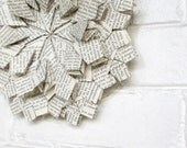 Black and White Origami Wreath - Recycled Book Paper Eco Friendly Home Decor - Geometric Floral Crystal Snowflake Pattern