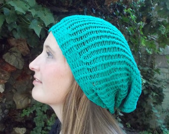 Turquoise, Summer, Spring, Hand Knit, 100 Percent Cotton, Slouchy Beanie Hat for Women and Men