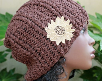 Chocolate, Dark Brown, Hand Knit, 100 Percent Cotton, Rib Knit, Slouchy, Over-Sized, Beanie with Gold, Lace, Applique for Women