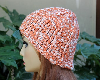 Hand Knit, 100 Percent Organic Cotton, Orange and Cream, Rib Knit Beanie for Women or Men Summer Spring Fall Winter