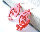 Laser Cut Acrylic Earrings - Unique Design  Red Flowers Earrings