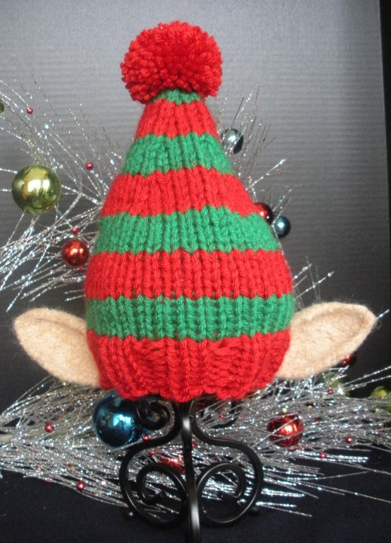 Items similar to Elf Knit Christmas Holiday Hat with Ears for Newborns, Babie...