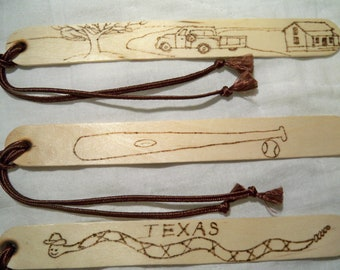 Boys Bookmarks, Wood Burned Bookmark, Baseball Bookmark, Truck Bookmark, Rattlesnake Bookmark, Sports Bookmark, Kids Bookmarks