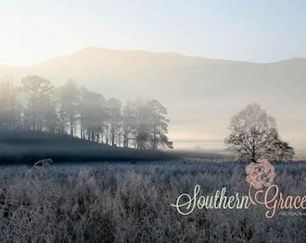Cades Cove at Dawn - A Cold Mountain Morning - Smoky Mountain Photography - 8x10 Photo Ready to Frame