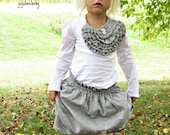 PRE-ORDER Two piece grey cotton skirt and white knit ruffle top outfit