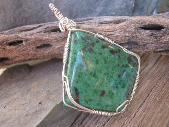 Green Zoisite Pendant, 999 Fine Silver, Organic Ruby Zoisite Gemstone, Wire Wrapped Jewelry, Heart Sacral Root Chakra, READY To SHIP