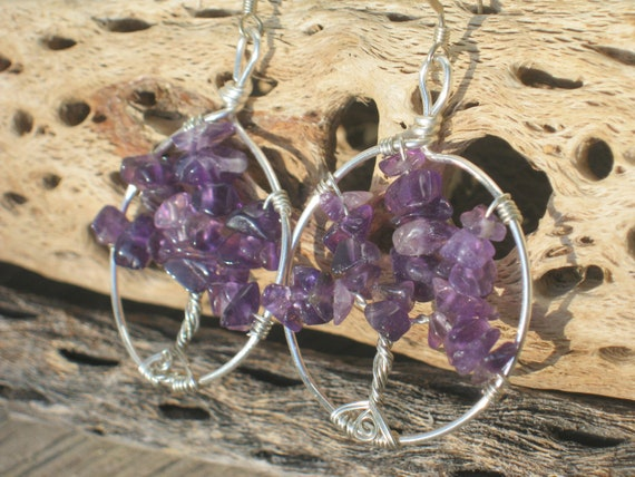 Amethyst Tree Of Life Earrings, Wire Wrapped