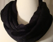 Black Embroidered Print Fabric Fashion Circle Infinity Scarf Holiday Woman Winter Gift