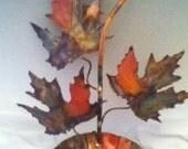 COPPER  maple leaf Birdfeeder: This handcrafted copper metal sculpture,,garden art,