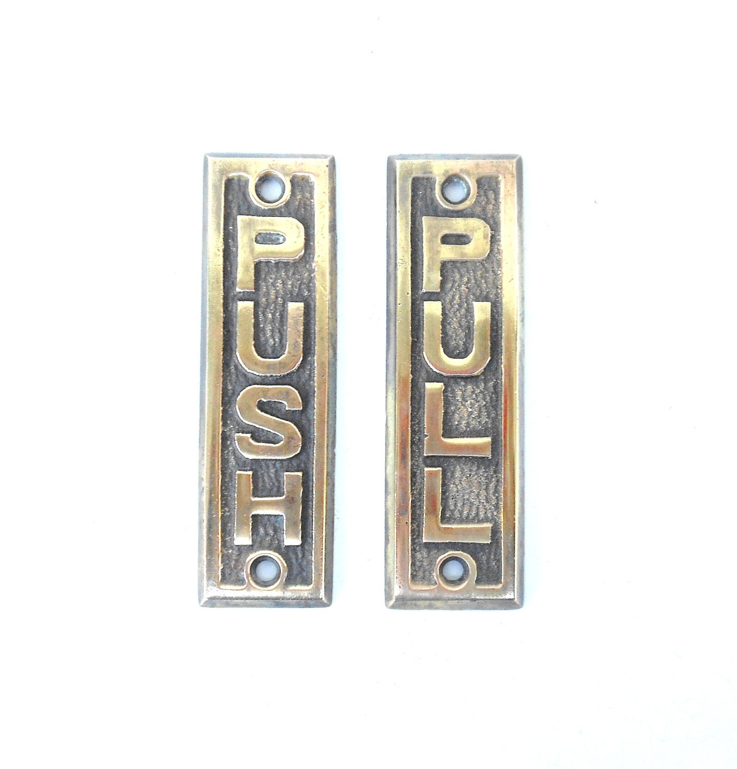 Brass door plate push pull set of two for Door push plates