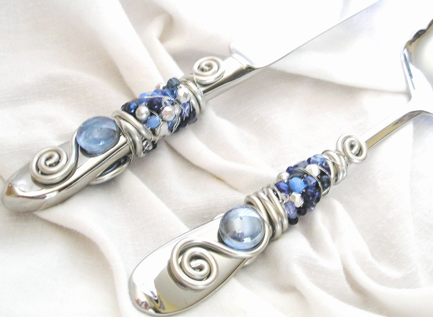 BEADED Wedding Cake Knife And Server Serving Set Silvery
