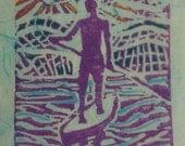 On Board 3 x 5 Linocut print on sky blue