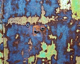Abstract Fine Art Photography Industrial Rust Orange Purple Blue Green The Boxer 8x12