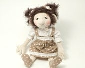 "OOAK handmade doll 15"" Kate dress up doll brown hair black eyes cotton clothes - Free shipping"