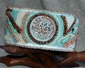 Raku Tree of Life Beaded Cuff Bracelet