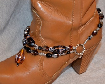 Boot Bracelet With Onyx and Lampwork Beads